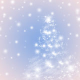 Blue and pink winter holidays greeting card background with Christmas tree Stock Photography