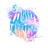 Blue and pink winter typography poster or card with Have a Happy Merry Christmas design Royalty Free Stock Photography
