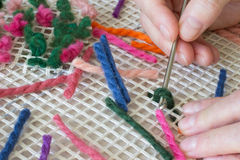 Blue pink  wool threads for weaving rugs home Stock Photos