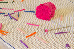 Blue, pink wool threads for weaving rugs home. Handmade. Stock Images