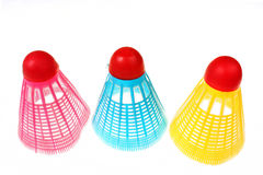 Blue, pink and yellow plastic shuttlecock badminton Royalty Free Stock Photo
