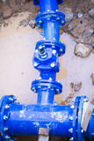 Blue pipe in the street damaged Stock Photography