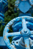 Blue pipe valve in the grass Royalty Free Stock Photo