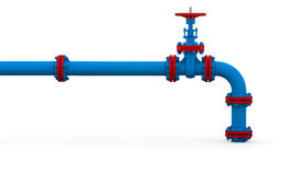 Blue pipe and valve Royalty Free Stock Images