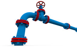 Blue pipe and valve. Isolated render on a white background Royalty Free Stock Photo