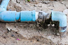 blue pipe of the water work system Royalty Free Stock Image
