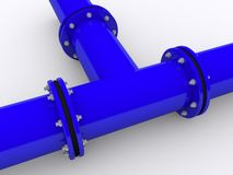 Blue pipeline. On white background Royalty Free Stock Photos
