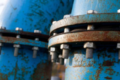 Blue pipelines stock image