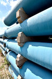 Blue pipes stock photos