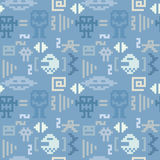 Blue pixel monster seamless pattern Stock Images