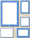 Blue pixel mosaic page frame set Royalty Free Stock Photography