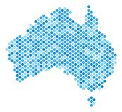 Blue Dot Australia Map. Blue pixelated Australia map. Vector geographic map in blue color variations on a white background. Vector composition of Australia map stock illustration