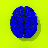 Blue pixelated low poly brain drawing Royalty Free Stock Images