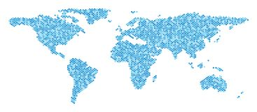 Blue Dot World Map. Blue pixelated world map. Vector geographic map in blue color hues on a white background. Vector mosaic of world map constructed of round Stock Photos
