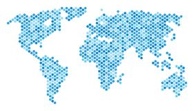 Blue Dot World Map. Blue pixelated world map. Vector geographic map in blue color hues on a white background. Vector mosaic of world map constructed of spheric Stock Photography