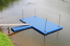 Blue plactic dock Royalty Free Stock Image