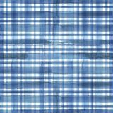 Blue plaid abstract texture. Watercolor abstract geometric plaid seamless pattern. Watercolor blue trendy texture Royalty Free Stock Image