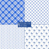 Blue plaid checkered russian porcelain beautiful. Folk ornament. Vector illustration. Seamless pattern background Royalty Free Stock Image