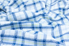 Blue Plaid fabric. Blue and white plaid fabric patten Royalty Free Stock Photo