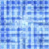 Blue plaid seamless pattern. Watercolor abstract geometric plaid seamless pattern. Watercolor blue trendy background Royalty Free Stock Photo