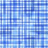 Blue plaid seamless pattern. Watercolor abstract geometric plaid seamless pattern. Watercolor blue trendy background Stock Photo