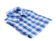 Blue plaid shirt. Horizontal on white background Stock Photos
