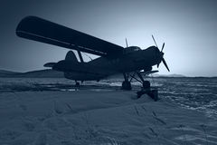 Blue plane. Antonov AN-2. Russia. Far-East Royalty Free Stock Image