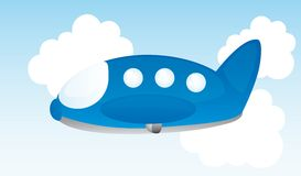 Blue plane cartoon Stock Photography