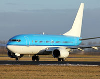 Blue plane close up during departure Royalty Free Stock Photography