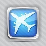 Blue Plane Icon Stock Photo