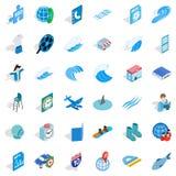 Blue plane icons set, isometric style. Blue plane icons set. Isometric style of 36 blue plane vector icons for web isolated on white background Stock Photo