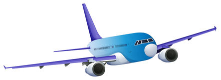 A blue plane. Illustration of a blue plane on a white background Royalty Free Stock Photos