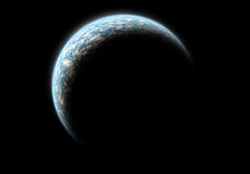 Blue Planet. Realistic illustration of a planet in darkness hit by sunlight vector illustration
