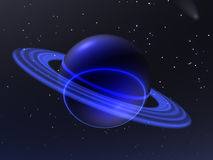 Blue planet. An unknown blue planet travels on spaces of universe stock illustration