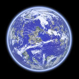 Blue planet. 3D rendered blue planet with atmosphere in space (over black background Stock Photography