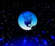 Blue planet. Planet Earth and stars in blue space. Illustration Royalty Free Stock Photography