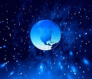 Blue planet. Planet Earth and stars in blue space. Illustration Royalty Free Stock Images