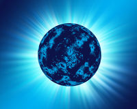 Blue Planet. Cold looking planet with a blue background royalty free illustration