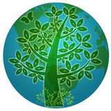 Blue Planet with Abstract Eco Tree Silhouette Stock Photography