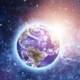 Blue planet in beautiful space Royalty Free Stock Photography