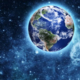 Blue planet in beautiful space Royalty Free Stock Photo