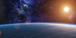 Blue planet with bright star. Stock Photos