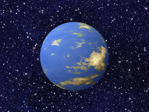 Blue planet of cosmos stars backgrounds. This is no nasa photo, it is render image Royalty Free Stock Images