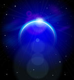Blue Planet in the depths of space. Blue Planet and stars in black space Royalty Free Stock Photo