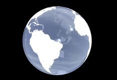 Blue planet earth on black backgrund. Royalty Free Stock Photos
