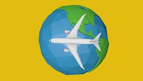 Blue planet earth concept travel by plane abstract animation vector illustration