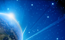 Blue planet earth in outer space royalty free stock image