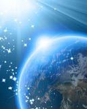 Blue planet earth in outer space Stock Photography