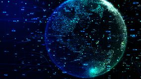 Blue Planet Earth rotating in global futuristic cyber network