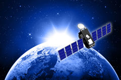 Blue planet earth and satellite Royalty Free Stock Photo